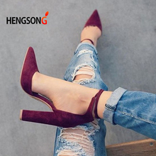 6 Colors Pointed Strappy Pumps Sexy Retro High Thick Heels Shoes 2107 New Woman Shoes Female Lace Up Shoes PA911519