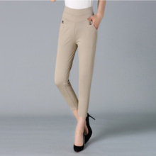 NIFULLAN Spring Fall Elastic High Waist Women Pants Casual Skinny Plus Size Mother Clothing Plus Size Straight Pants Black Khaki