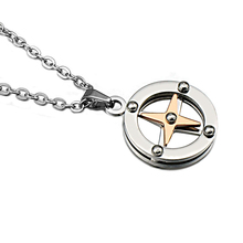 HIP Trendy Rose Gold Color Round Necklaces Titanium Stainless Steel Chain Compass Pendants for Men Women Jewelry Gift