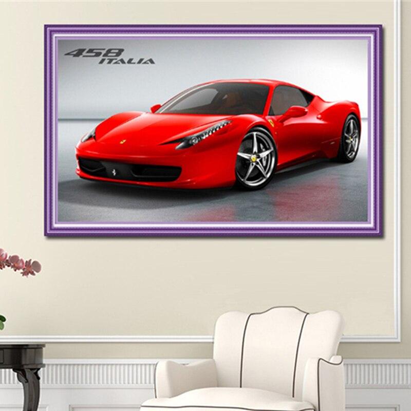 5d DIY Diamond Painting Cartoon Car Fashion Red Ferrari Diamond Embroidery  Kit Full Round Diamond Mosaic Sales Home Decor Gift
