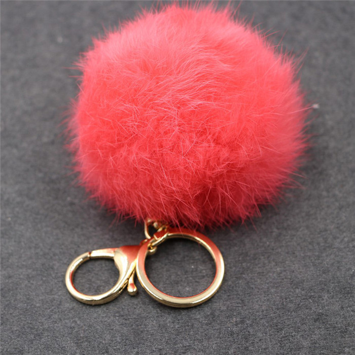 8CM Fluffy Pompom Real Rabbit Fur Ball Key Chain Women Trinket Pompon Hare Fur Toy keyring Bag Charms Ring Keychain Wedding Gift (20)