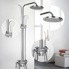 New Bathroom Faucet Chrome Polished Single Handle Shower Set Hot&Cold Mixers Taps Wall Mounted Rainfall Shower Faucets