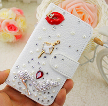 Bing Red Lips Dancing Girl High Heel Embossed White PU Leather font b Case b font