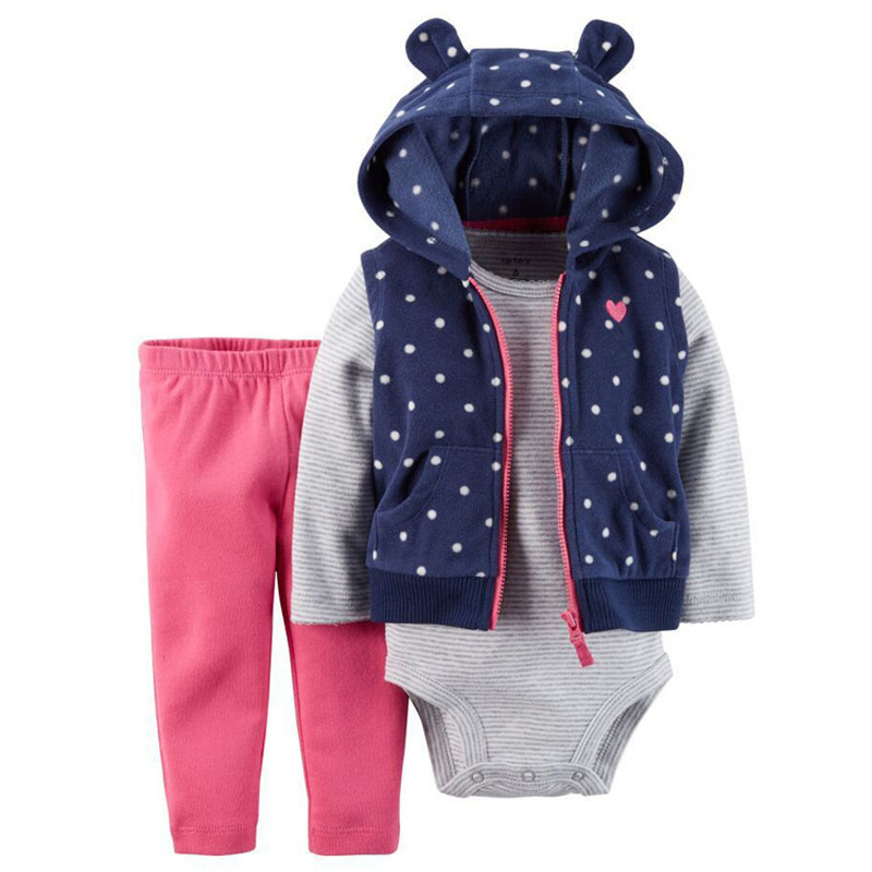 Casual Spring Baby Girl Set Cartoon Hooded Vest+Bodysuits+Pants Infant Tracksuit Baby Girl Clothes for 6-24 M<br><br>Aliexpress