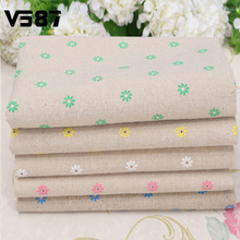 1PCS/LOT Wholesale 75cm*50cm Daisy Flower Linen Cotton Clothes Garden Style Handmade For DIY Making Fabric