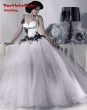 Bridal Victorian Gothic Wedding Dress 2016 Tulle Ball Gown Lace White and Black Wedding Dress Gowns robe de mariage Bride