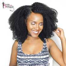 Mongolian Afro Kinky Curly Weave Human Hair Extensions 4B 4C Non-remy Hair 1 Bundle Natural Black 10-22inch Ever Beauty