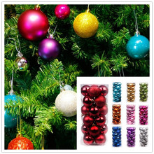 24pcs 3cm Christmas Baubles Hanging Ornament Christmas Balls New Year Christmas Tree Decorations Supplies 6ZHH181(China)