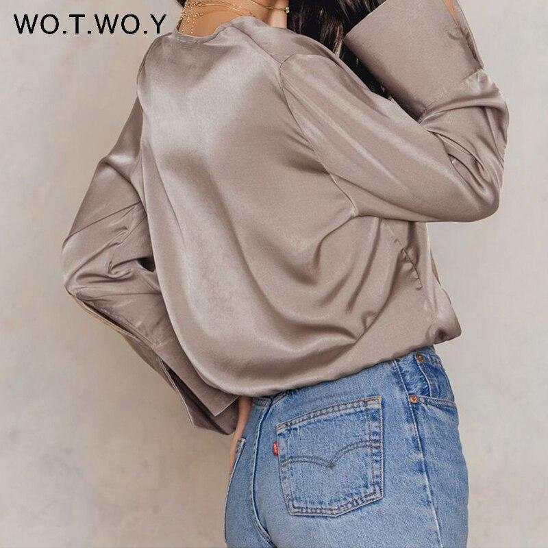 05d6207fb1896 High Quality Deep V-Neck Silk Blouses Women Long Sleeve Satin Office Blouse  Shirts Women