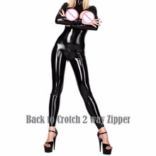 Buy Fetish Cupless Sexy Faux Leather Catsuit Jumpsuit Bodysuit Playsuit Overalls Back Crotch 2 Way Zipper Catsuit Lingerie W7936