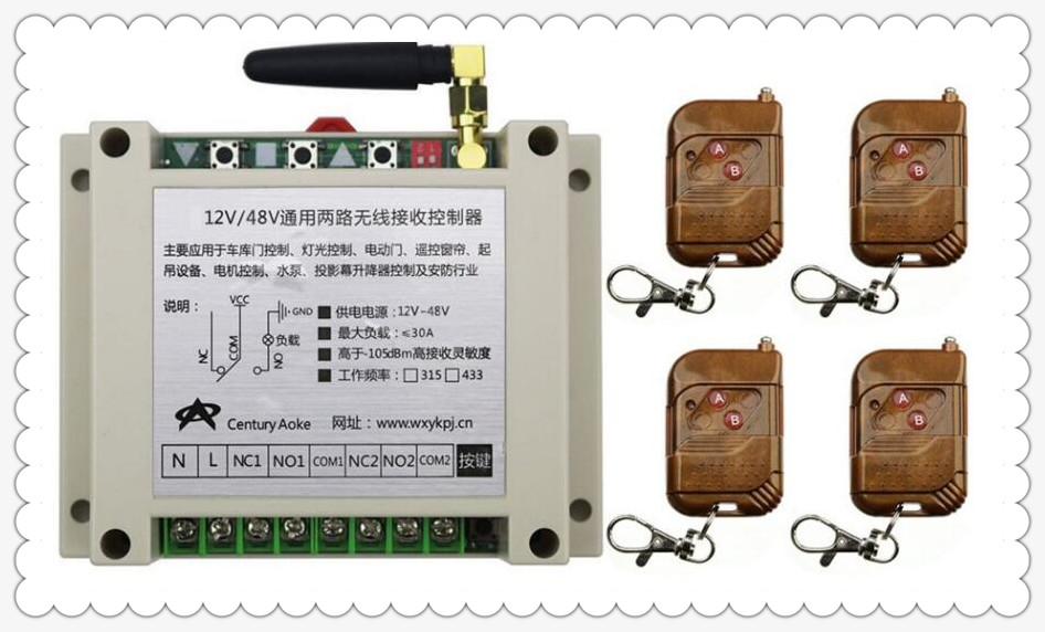 DC12V 24V 36V 48V 10A 2CH RF Wireless Remote Control Switch System 4 transmitter &amp; 1 receiver relay Receiver Smart Home Switch<br>