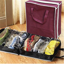 Outdoor travel Portable non-woven shoe box Household finishing Storage bag 6 space Hand-held trunk household products