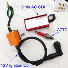 Racing Ignition Coil AC CDI Spark Plug A7TC Per 50cc 70cc 90cc 110cc 125cc Pit Bike Dirt Loncin Taotao ATV Quad