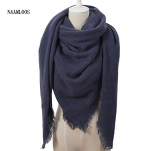 Hot Fashion Solid Color Winter Square Scarf Women Oversize Blankets Luxury brand Shawl Cashmere echarpe Cape Size 140cmx140cm(China)
