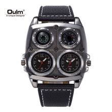 TEAROKE Dual Movement Men Watch OULM Sport Quartz Wristwatch Leather Strap Compass Thermometer 2 Time Zone Military Casual Men