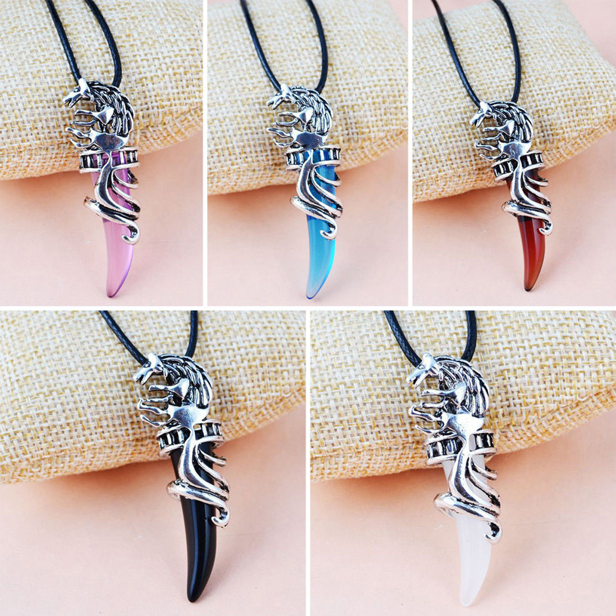 Men Antique Silver Tribal Stark Wolf Fang Tooth Pendant Necklace Vintage Wolf Tooth Dragon Alloy Pendant Necklace jewellery