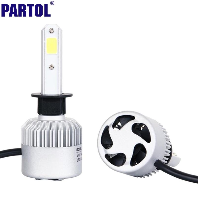 Partol H1 COB LED Headlight Bulbs 72W 8000LM Single Beam Auto Headlamp All In One Car LED Headlights Conversion Kit Fog Lamp 12V<br><br>Aliexpress