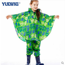 Unisex outdoor waterproof polyester boys girls children kids poncho rainsuits with pants hooded free shipping(China)
