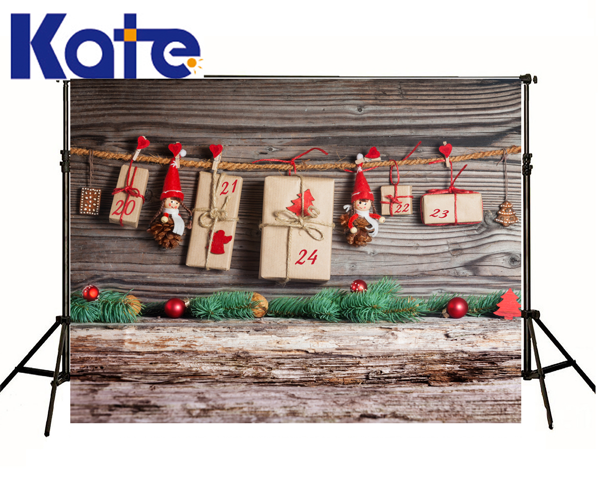 Kate Christmas Background Photography Wood Wall Floor Ball Backgrounds Toy Red Hat Christmas Gifts Backdrops For Photo Shoot<br>