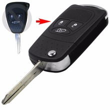 Flip Remote Key Shell refit for Chrysler Dodge Jeep Avenger Nitro 3 Button Fob Folding Key Case
