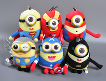Retail 23CM Cartoon Plush Toy 3D Eyes Superman IronMan Captain America animal Design Toys Baby Toy One Piece Anime Stuffed Doll
