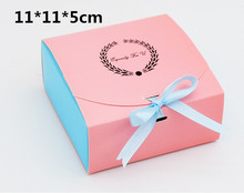 Alice, 11*11*5cm,Pink Wedding door OR Engagement cardboard box ,20pcs/lot Chocolate/Biscuit/cake/puff gift packing boxes(China)
