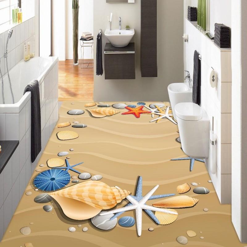 Free shipping Hand-painted beach shellfish starfish 3D floor custom living room bathroom self-adhesive photo wallpaper flooring<br>