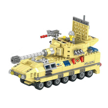 Armoured team building block truck vehicle submarine fighter jet fighter creative DIY puzzle toy 3D jigsaw puzzle toys