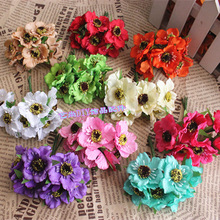 6pcs/lot High quality Real Touch Small Artificial Poppy Bouquet/ Wedding Silk Rose Flowers For DIY Scrapbooking Flower