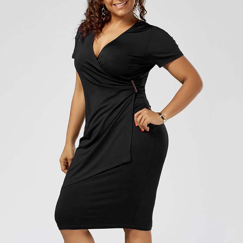 Plus Size 5XL Overlap Tight Surplice Work Wear Dress Women Short Sleeve V Neck Office Midi Dress Ladies Elegant Party Robe Femme