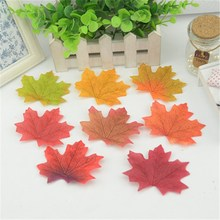 100pcs Artificial Silk Maple Leaves Multicolor Fake Flower Leaf For Wedding Party Decoration Background Scrapbooking Craft Cheap(China)