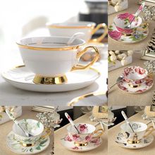 Advanced Bone China Coffee Mug Tea Cup and Saucer Spoon Set Ceramic Cup 200ml Porcelain Tea Cup Tray For Gift Cafe Tasse