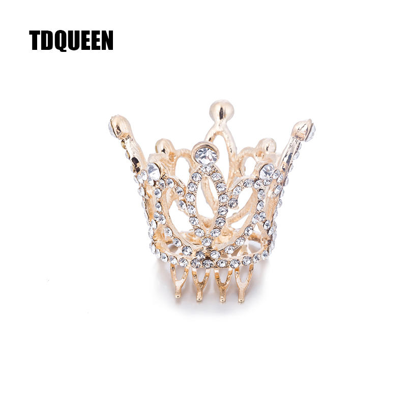 Wedding Hair Accessories Gold Color Mini Round Crystal Rhinestone Tiaras and Crowns Pageant Prom Princess Comb Tiara Crown (4)