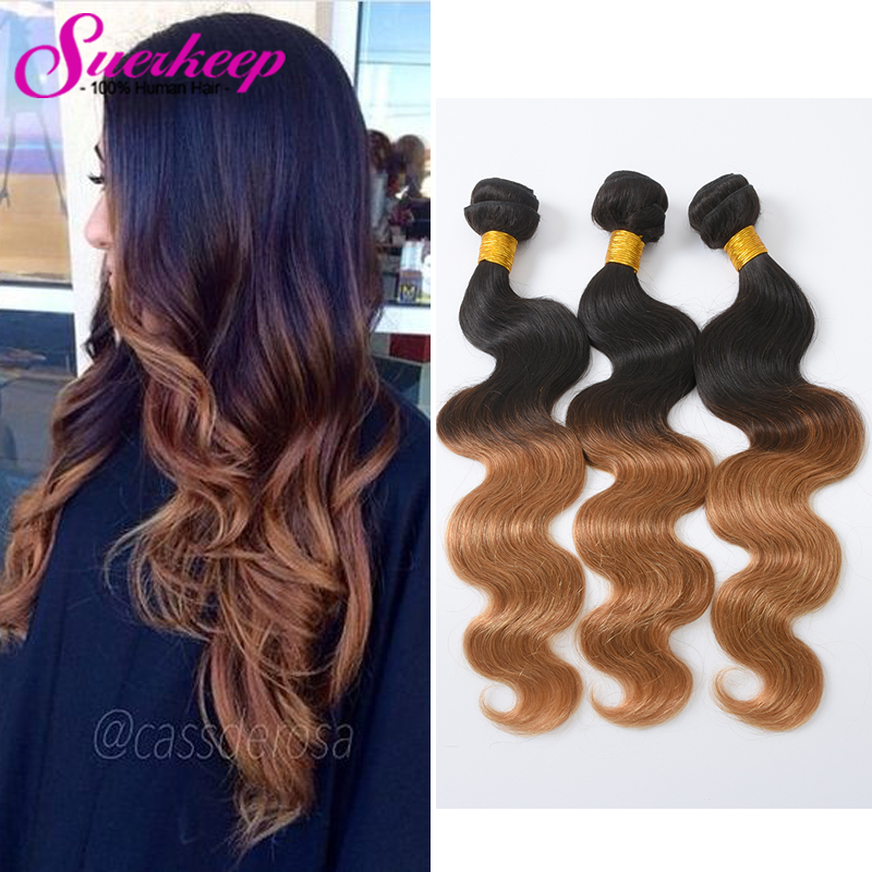 Ombre Brazilian Hair Body Wave Two Tone #1B/27 4 Bundles Ombre Brazilian Hair Weave Bundles 7A Ombre Virgin Hair Extensions <br><br>Aliexpress
