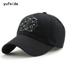 YUFEIDA Fashion Plain Dyed Baseball Cap Men Snapback Cotton Black Caps Women Men Casual Gorras Flat Adjustable Dad Leisure Hat(China)