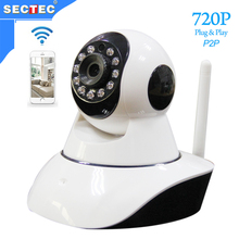SECTEC 2016 Plastic Home WIFI 720P IP Camera Free Yoosee Mobile APP Baby Monitor Smart Alarm Night Vision Indoor Security System