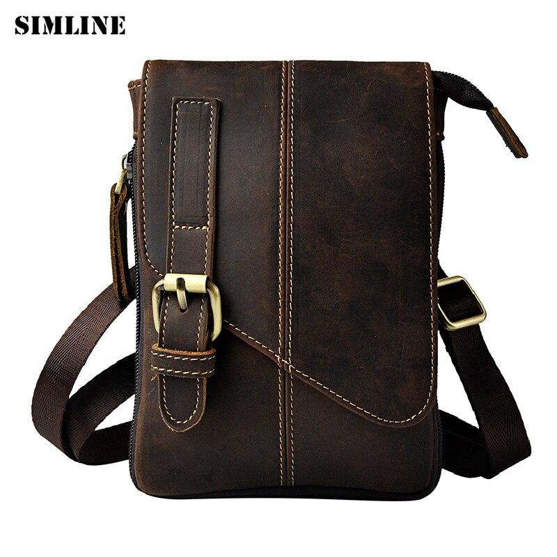 SIMLINE Vintage 100% Genuine Crazy Horse Leather Cowhide Men Small Messenger Shoulder Crossbody Bag Waist Bag Pack Bags For Man<br>