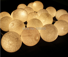 20 Balls/Set 20 Creamy white LED Cotton Balls Fairy String Lights Christmas,Wedding,Halloween,gift
