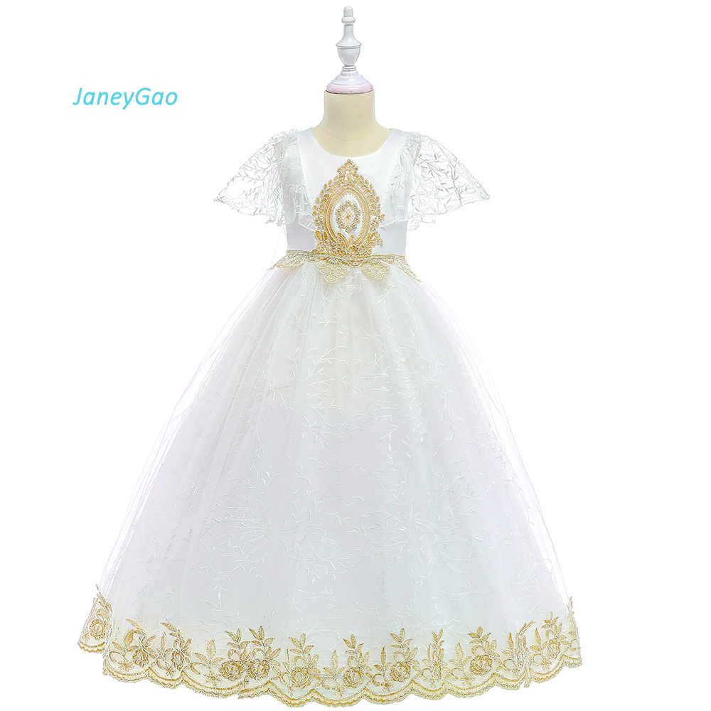 JaneyGao Flower Girl Dress For Wedding Party White First Communion Dress Teenage Girl Formal Gown Hot Sale Kids Dress In Stock