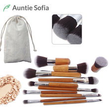 11pcs Natural Bamboo Makeup Brushes Kit with Bag Professional Cosmetics Blusher Eyeliner Brush Kabuki Foundation Blending Tool