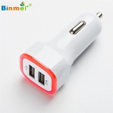 Binmer 2.1A LED USB Dual 2 Port Adapter Socket Car Charger For Iphone/Samsung/HTC Wholesale Good Factory Price Drop Shipping(China)