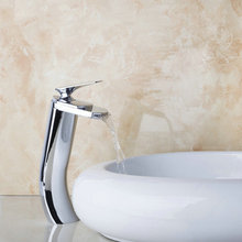Tall Deck Mount Waterfall Spout Victory Bathroom Basin Sink Mixer Tap Chrome Brass Faucet JN8327(China)