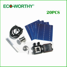 20pcs 6x6 4.3W whole Polycrystalline Solar Cell Kit 156 Poly Solar cell+ Tabbing Wire+Bus Wire+J-BOX+ Flux Pen+Wire