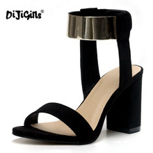DIJIGIRLS Hot Fashion Ankle Strap Glitter Bling Square High Heel Sandals Women's shoes Black Drop Ship Factory(China)