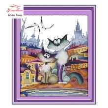Золотой панно, великолепный город Cat, 11ct узор на холсте DMC 14ct Вышивка крестом наборы, рукоделие Вышивка для Наборы для ухода за кожей, декор 923(China)