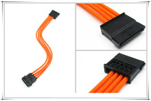 Molex 4PIN to Sata connector adapter /extension cable with ORANGE sleeving 18AWG