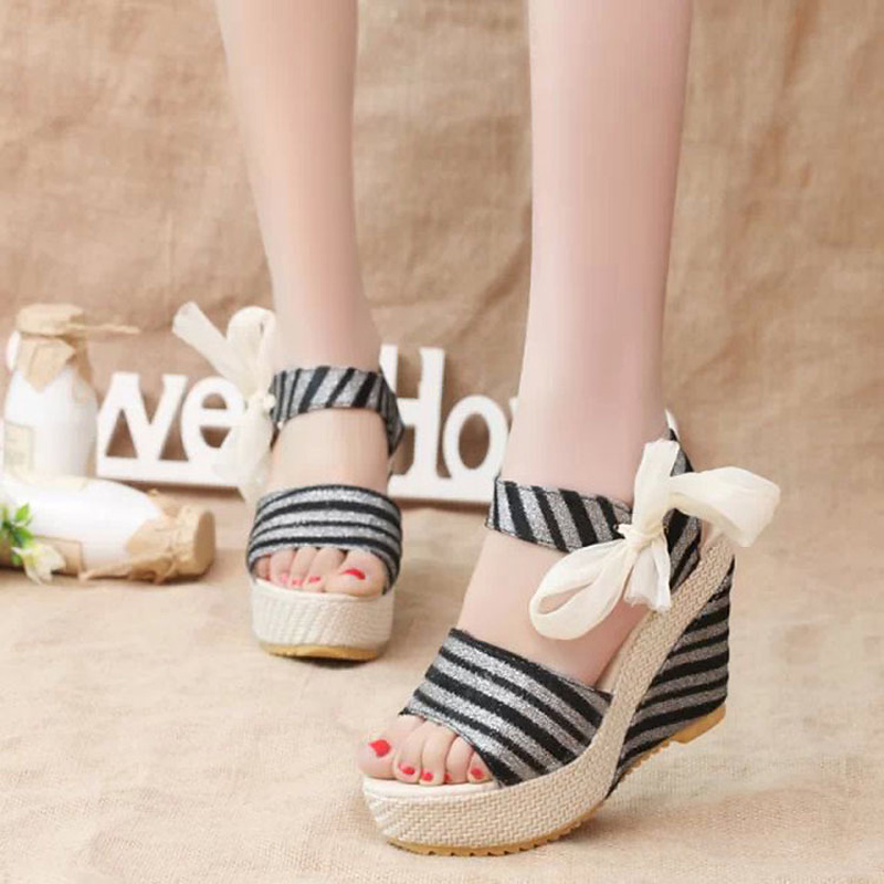 11cm High Heels 2017 Women Fringe Lace Bow Sandals Sexy ladies shoes Platform Wedges Comfortable Weave Sandalias Zapatos Mujer<br><br>Aliexpress