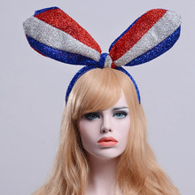 Blue White Red Flag Long Ears Bright Silk Cloth Hoop Party(China)