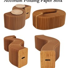 Home Furniture Softeating Modern Design Accordin Folding Paper Stool Sofa Chair Kraft Paper Relaxing Foot living & Dining Room(China)