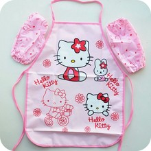 New Hello Kitty Apron Kit, Cooking PVC Waterproof Apron Children Cooking Apron Free Shipping